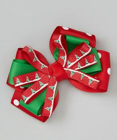 Take a look at this Red Christmas Tree Sunshine Bow Clip by Festive Fifi on #zulily today!