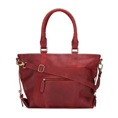 Leather Zip Pocket Purse Bag distressed leather Oxblood red