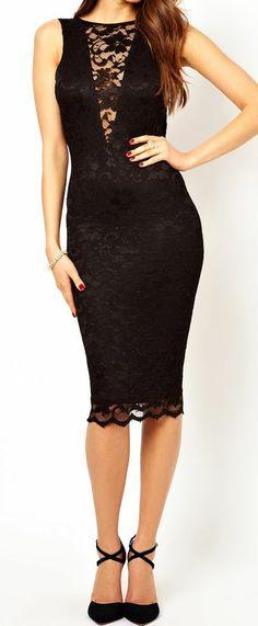 Backless Lace Pencil Dress #lbd