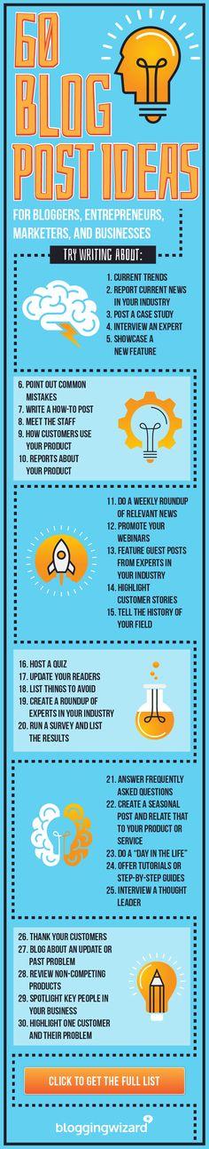 60 Blog Post Ideas For Entrepreneurs, Marketers, And Businesses via @adamjc. #blogposts #blogging #bloggingtips #blogpostideas #contentmarketing #digitalmarketing