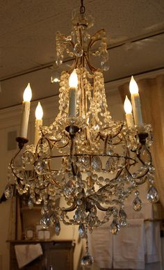 Antique Italian beaded chandelier, gasp!