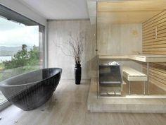 Modern Bathroom with Sauna Modern Bathroom Design, Bathroom Interior Design, Modern House Design, Bathroom Designs, Contemporary Saunas, Contemporary Shower, Indoor Sauna, Sauna Design, Bath Design