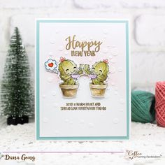 Craftin Desert Divas Cactus Coffee Digital Stamp, Altenew Happy Holidays stamp set, Altenew Rose Gold Embossing powder, Altenew Tiny Bubbles Stencil, new year card, #DanaCardDesign, #winter2017clh