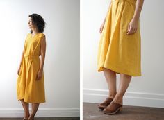 I set out on a quest to find the perfect green fabric and ended up with a yellow dress....!?! A happy accident. #fussywithcolour #sewing :: From Japanese pattern book 'I Love Tops' pattern F – dress hack.