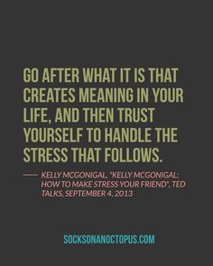 """Quote Of The Day: August 5, 2014 - Go after what it is that creates meaning in your life, and then trust yourself to handle the stress that follows. — Kelly McGonigal, """"Kelly McGonigal: How to make stress your friend"""", Ted Talks, September 4, 2013 #quote"""