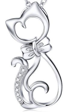 Sterling Silver Bowed Cat Necklace – FSS