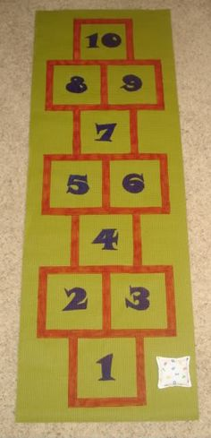yoga mat indoor hopscotch  On my long list of kid crafts...GENIUS!