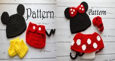 TWO Crochet PATTERNS - Newborn to 12 months Minnie Mouse set and Mickey mouse set Photo Prop Set -Instant Download PDF on Etsy, $9.00
