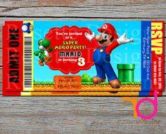 Super Mario - Mario Bros. - Luigi and Yoshi invitation pass - ticket style invitation - mario invitation - VIP pass CUSTOM personalized