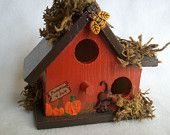 hand painted Fall Thanksgiving themed embellished whimsical decorative wooden birdhouse