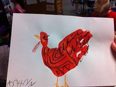 Handprint Little Red Hen - Fairy Dust Teaching Craft Activities For Kids, Preschool Crafts, Crafts For Kids, Craft Ideas, Thanksgiving Crafts, Fall Crafts, Holiday Crafts, Turkey Handprint, Handprint Art