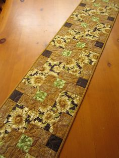 Quilted Handmade Table Runner Sunflowers