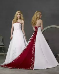 Red trail, strapless wedding dress with diamond sequence design.