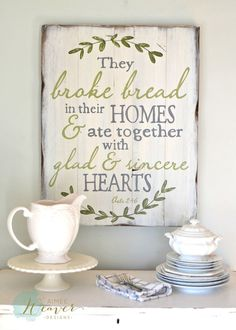 """""""They Broke Bread"""" Wood Sign {customizable}"""
