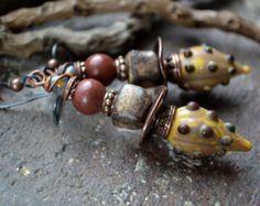 Boucles d'oreilles agate rustique boucles par JeSoulStudio sur Etsy