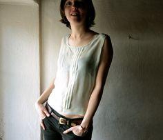 Blusa de Gasa de seda tank top - top de cultivo puro - verde de menta - las mujeres sin mangas plisaron camisola