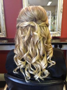Bouffant half up/down thickened up with hair extensions to lengthen shoulder length hair - Hair by Jac