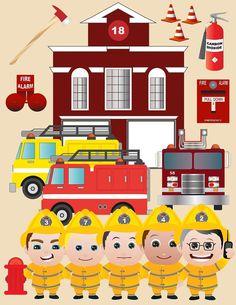 15 pc Firemen Clipart Set   Digital Download by graficaitalia