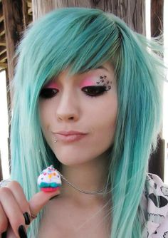 teal hair and cute make up