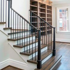 From rustic wood to modern metal, discover the top 70 best stair railing ideas. Explore stunning indoor staircase design inspiration and styles. Indoor Stair Railing, Wood Railings For Stairs, Staircase Railing Design, Interior Stair Railing, Modern Stair Railing, Porch Stairs, Staircase Handrail, Iron Stair Railing, Staircase Remodel