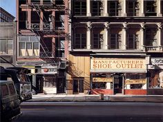 Richard Estes Shoe Outlet New York City 1970s Oil on Canvas 1973 (Photorealist paintings of old new york)
