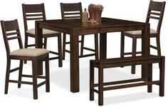 VCF-Dining Room Furniture - Tribeca Counter-Height Table, 4 Side Chairs and Bench - Tobacco