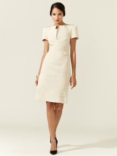 Silk Faille Split Neck Dress by Zac Posen| Love the structure.