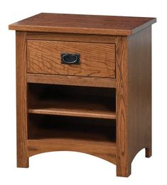 Siesta Mission Nightstand Oak The perfect bedroom accessory, this mission nightstand provides storage bedside. You can customize this quality wood furniture by picking from a variety of wood, stain and hardware options. Amish made in America. #woodfurniture #nightstands