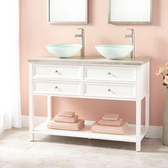 """48"""" Wynne Double Vessel Sink Vanity - White"""