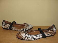FLEXISOLE Womens Sz 9.5 Brown Topaz Black Animal Print Velvet Ballet Flats Shoes #FLEXISOLE #BalletFlats #Casual
