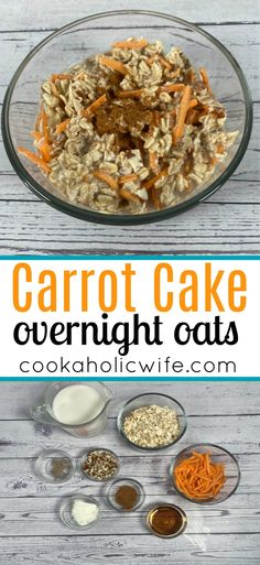 Carrot Cake Overnight Oats are a delicious, healthy breakfast option that turns the flavors of carrot cake into a breakfast treat. Don't you want the flavors of cake for breakfast? #carrotcake #overnightoats #healthybreakfast