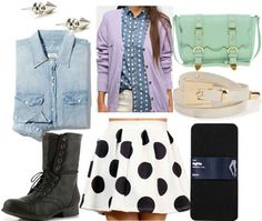 Black and white polkadot skirt, denim shirt, lavender cardigan, combat boots, tights, mint bag, silver earrings