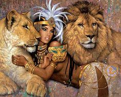 'Lioness' by Karl Bang. I love the mask she's holding....