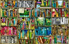 Bookshelf by Colin Thompson  I have this design on my kindle fire case and every time I look at it it makes me smile ☺