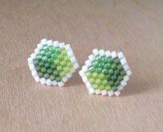 Beaded Stud Earrings Green Cube Jewellery Bead Jewelry