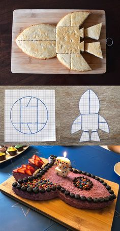 Apples & Beavers | Make a rocket cake for your little one's birthday party! Just use a standard round shape, cut it up according to the shown template and reassemble the pieces as a rocket - and you won't even waste anything! Then have fun decorating your very special space vehicle!
