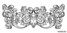 Vintage baroque frame leaf scroll floral ornament engraving border retro pattern antique style swirl decorative design element black and white filigree vector