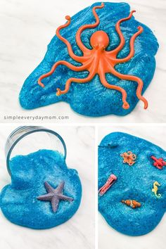 This easy no borax ocean slime recipe for kids is a fun sensory play idea for summer time! It's a great activity for preschool and elementary children. Diy For Kids, Crafts For Kids, Indoor Activities For Kids, Ocean Activities, Easy Slime Recipe, Slime For Kids, Blue Gel, How To Make Slime, Use Of Plastic