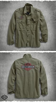 Military inspired, the well-built Logo Slim Fit Shirt Jacket is cut from all-cotton herringbone fabric for subtle texture. Details like button epaulets and stonewashing lend authentic style to this men's long sleeve shirt. Harley Davidson Fabric, Harley Apparel, Harley Gear, Herringbone Fabric, Gentleman Style, Shirt Jacket, Military Jacket, Long Sleeve Shirts, Beautiful Places