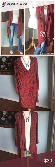 "Gorgeous fall waterfall cardigan plus sizes   I love this cardigan! I love the rich fall color and I absolutely love the style. Can be worn open as a waterfall cardigan or closed as an elegant closed sweater.  I would buy a size up so you can complete the oversized look!  Stretchy material !  1x is 29"" in length in the back 3x is 35"" long to cover us up back there New Seasons Boutique Sweaters Cardigans"