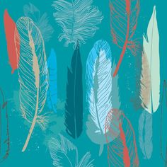 This seamless graphic blurs the line between cartoon and realism in its quirky depiction of bird feathers.  The background is a cool, fresh teal. Realistic but plainly hand-drawn feathers drift down the page in a stylish, haphazard pattern. Some are tan, some gray, some a high-contrast red, and they're presented in a variety of sizes.  The feathers occasionally overlay one another, like stamps on a canvas or fabric run repeatedly through the silkscreen. The result is casually hip, with a…