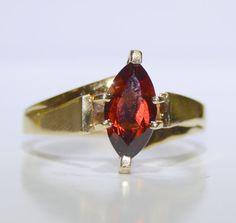 Vintage Marquise Cut Garnet Ring Set inYellow by LadyLibertyGold