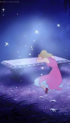 This is a scene from Cinderella that portrays magic. She is upset and crying because she can't go to the ball. Just when she feels the most helpless her fairy god mother appears out of no where. She kept believing and that's how she got what she wanted.