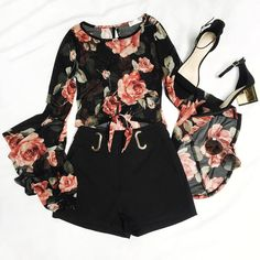 """""""Floral"""" the night. Knot Floral You Mesh Top Higher Place Belted Shorts Golden Time Block Heels Quay Australia Lickety Split Sunglasses"""