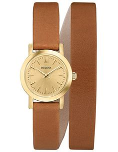 Bulova Ladies Leather Wrap Dress Watch - Gold Tone Case & Dial - Brown Leather