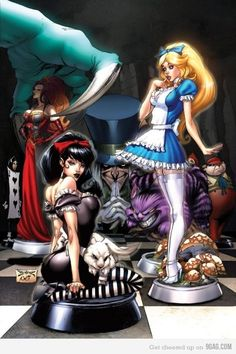 Shop Beyond Wonderland B - Chess piece Alice, Queen Poster created by zenescope. Beyond Wonderland, Dark Alice In Wonderland, Dark Disney, Disney Art, Evil Disney, Disney Girls, Disney Style, Fairytale Fantasies, Fairytale Art