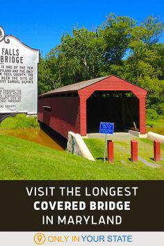You can walk through the longest covered bridge in Maryland! The beautiful, historic bridge is great for a quick road trip stop or local day trip. Visit Maryland, Best Bucket List, Hidden Beach, Swimming Holes, Place Of Worship, Covered Bridges, Natural Wonders, Day Trip, Country Living