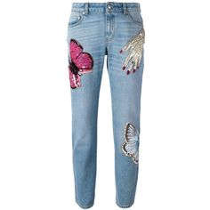 Alexander McQueen 'Big Obsession' jeans (8 055 PLN) ❤ liked on Polyvore featuring jeans, pants, blue, blue jeans, 5 pocket jeans, sequin jeans, embroidery jeans and alexander mcqueen jeans