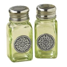 Grasslands Road Celtic 3-3/4-Inch by 1-3/4-Inch Pewter Embellished Green Glass Salt And Pepper Set : Amazon.com : Kitchen & Dining