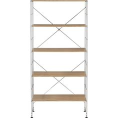 Chrome Five-Shelf Unit with Wood Shelves in Dining, Kitchen Storage | Crate and Barrel